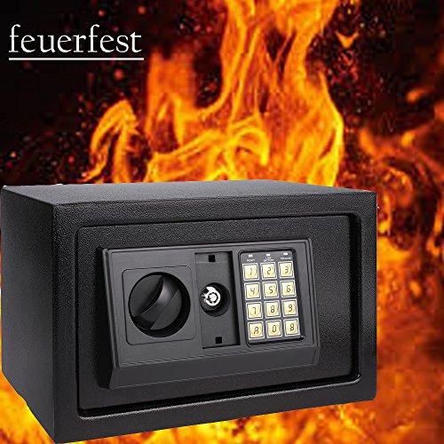 Qulista elektronischer Tresor Safe mit Zahlenschloss, 2 Schlüsseln feuerfester Geldtresor Wandtresor für Boden, Wand, Schrank 31 x 20 x 20cm