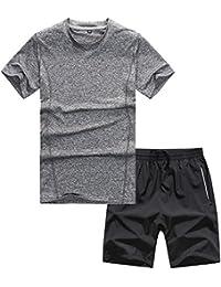 Chándal de Verano Hombres Traje de Deportiva Hombres Manga Corta Camisas +  Quick Dry Pantalones Cortos cd74bc72874