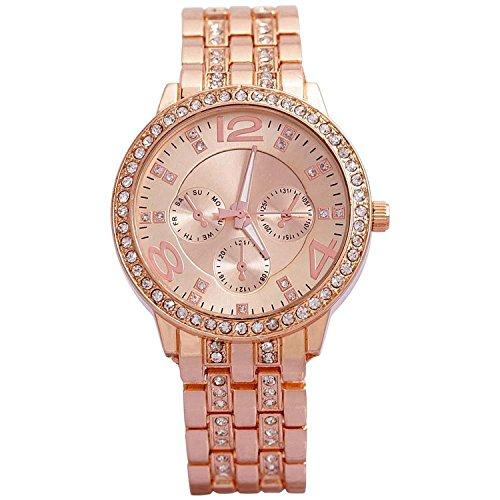 Cosmic Analogue Rhinestone Diamond Studded Rose Gold Dial Women\'s Watch - FDGFHHG