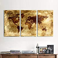ASDZXC 3 Pieces World Map Canvas Art Modern Painting Old Style Wall Pictures For Living Room Framed Home Decor Frameless