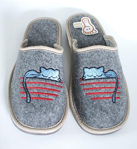 Pantofole Di Alta Qualità, Confortevoli Feltro In Feltro Da Donna Con Suola In Gomma / Feltro Gatto Ricamato Con Gatto Ricamato