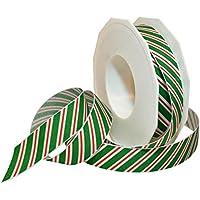 Morex Ribbon 80605/20-607 Candy Cane Stripes Grosgrain Ribbon, 7/8-Inch by 20-Yard, Emerald by Morex Ribbon