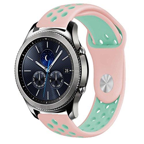 Für Gear S3 Armband, iBazal Gear S3 Frontier/ Classic Uhrenarmband 22mm Soft Silikon Band Sport Band Verstellbares Armband für Samsung Gear S3 Frontier/ Classic - Rosa / Türkis 22mm Rosa Uhrenarmband