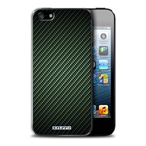 Hülle Case für Apple iPhone 5/5S / Grau Entwurf / Kohlenstoff-Faser-Muster Collection Grün