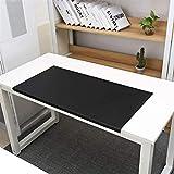 Vade de escritorio de piel de alta calidad con protección de bordes, impermeable, de poliuretano, antideslizante, para escritorio, de 4 mm de grosor, color Negro 90x48cm