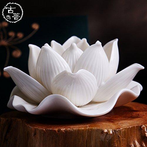 JiaQi Lotus Kerzenhalter, Lotus Kerze lampenfassungen Weiß Lotus Große kerzenständer Für Das Buddha-Licht Buddhismus-Weiß 14x6cm(6x2inch)