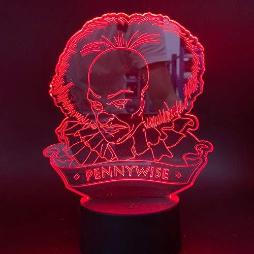 chlampe Filme Es ist Kapitel 1 Pennywise Abbildung 3d mit Nachtlicht USB-Batterie oder Office Room Decor ()