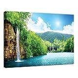 Welt-der-TräumeWANDBILD CANVASBILD Wandbild Leinwandbild Kunstdruck Canvas | Wasserfall | O7 (50cm. x 70cm.) | Canvas Picture Print PP10201O7-MS | Natur Wasserfall Wasser Blick Grün