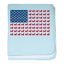 CafePress–Dackel Patriotische Flagge Baby Decke–Baby Decke, Super Weich Für Neugeborene Wickeldecke, baumwolle, himmelblau, Standard