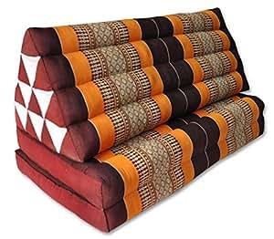 Coussin Thailandais triangle XXL avec assise 2 plis, détente, matelas, kapok, fauteuil, canapé, jardin, plage marron/orange (81117)