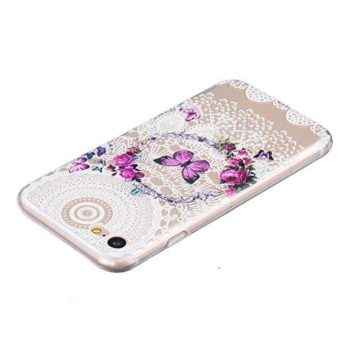 Per iPhone 7 Plus Custodia,Mobilefashion Custodia in Ultra Sottile TPU Protettiva Case Cover per Apple iPhone 7 Plus 5.5 inch (lupo M) + Pellicola Protettiva Dono Gratuito + Colore casuale Protezione  Farfalla corona M