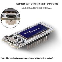 MakerHawk Scheda di sviluppo WiFi ESP8266 con display da 0,91 pollici ESP8266 OLED Display CP2012 Arduino IDE NodeMCU LUA