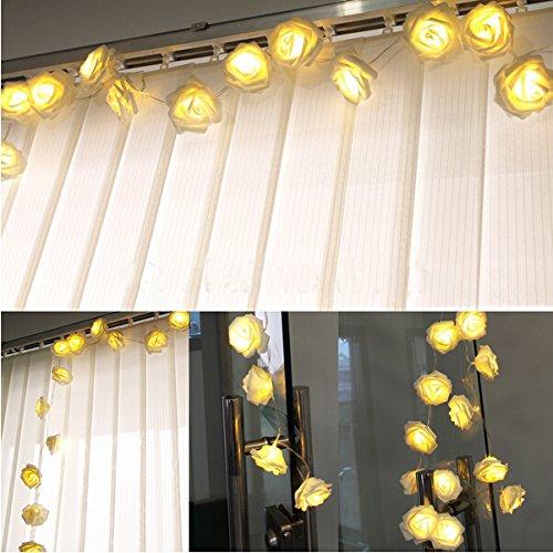 HANGQI (R) 20 LED-Lichterketten mit Rosenblüten für Party, Zuhause, Hochzeit, Garten, Weihnachten, Valentinstag (gelb)