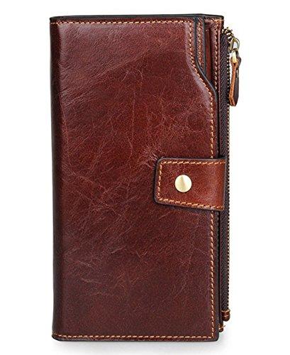 SAIERLONG WL Neues Herrengeldbörsen Damen Clutch Unterarmtasche Geldbörse Geldbeutel Geldtasche Handgelenktasche Portemonnaie Herren (Kaffee)