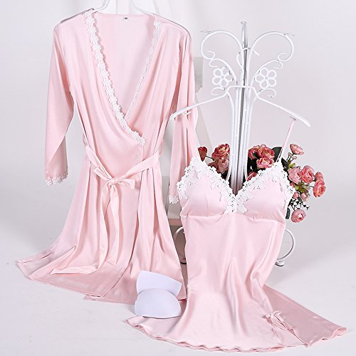 Aibrou Damen Satin Nachtwäsche Kimono Nachthemd Negligee Spitze Chemise Pyjama Robe Zwei Stücke Sleepwear Set Trägerkleid Patchwork Rosa