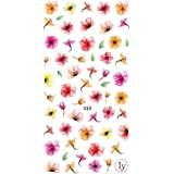Watercolor Flowers 3D Nail Art Stickers Manicure Marble Nail Design Stickers By DALUCI (1 Sheet) (Design 4)