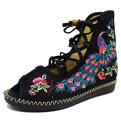 p Sandale, Leinwand Flache Frauen Sandale, Gladiator Open Toe Sommer Baumwolle schnüren Sandalen, Frauen Sandalen,39 ()
