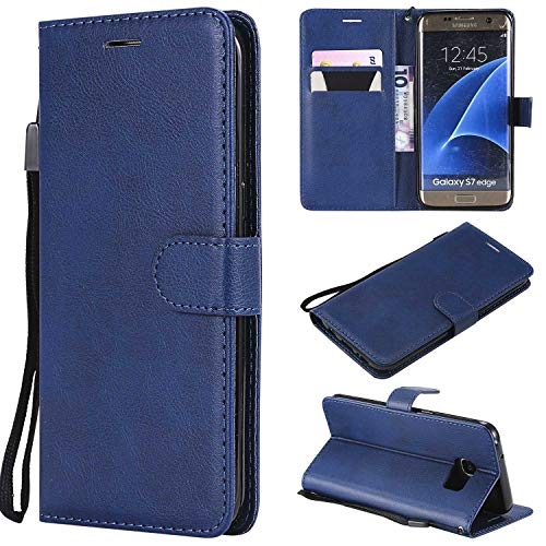 Bear Village Funda Galaxy S7 Edge, Cuero Soporte Plegable Carcasa Anti-Rasguño Cover, Estilo Libro Protección De Cuerpo Completo Funda para Samsung Galaxy S7 Edge (#6 Azul)