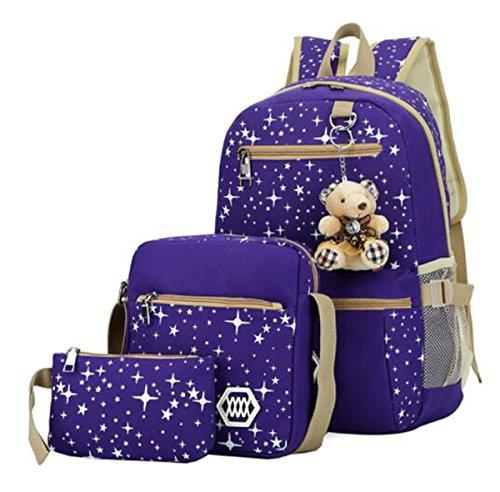 Girls Lightweight Canvas Casual Daypack School Backpack + Shoulder Bag + Pencil Case(3 PCS) (purple)