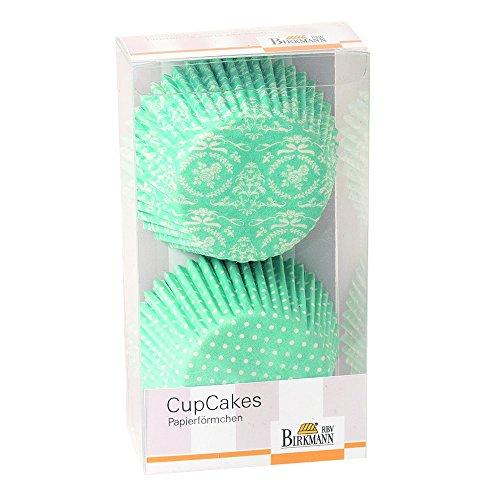 Preisvergleich Produktbild Cupcake-Papierförmchen Flower-Ornament: türkis und weiss, 48 Stück