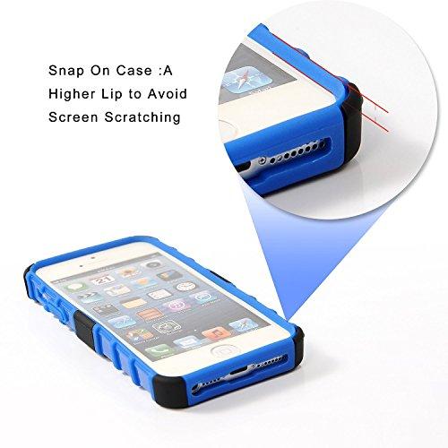 Coque pour iPhone 5C Motif, wisdompro® [2pièces en 1] Double Couches [Ultra] rigide hybride souple robuste Étui de protection avec béquille pliable [] pour Apple iPhone 5C noir/noir