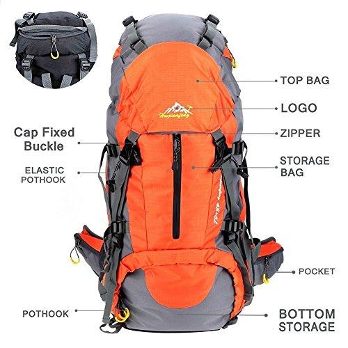Imagen de 50l senderismo de daypacks  de deportes al aire libre  de senderismo  bolsas bolsa resistente al agua para acampar pesca viajes escalada alpinismo ciclismo esquí naranja  alternativa