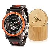 Bobo Bird Herren-Armbanduhr, luxuriös, aus Holz, große Größe, Datums- und Chronographenanzeige, Ebenholz mit Geschenk-Box aus Bambusholz für Herren