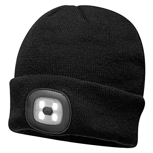 Unisex Mens Portwest Black LED Head Light WARM Knitted Beanie Watch HAT B029 - ONE Size Led Lumen Output