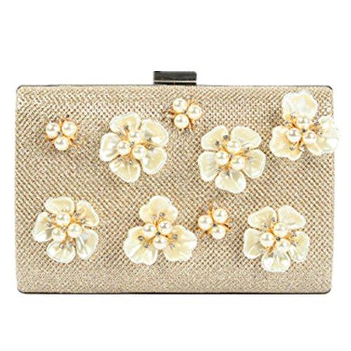 Elegante Frauen Abend Satin Blume Perle Perlen Handtasche Clutch 04-Gold