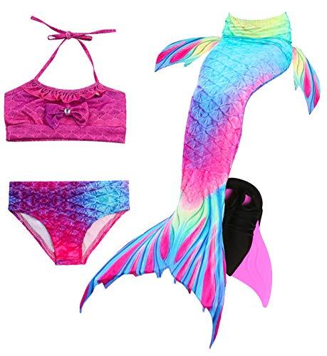 Le SSara Mädchen Cosplay Kostüm Badebekleidung Meerjungfrau Shell Badeanzug 3pcs Bikini Sets (120, ()