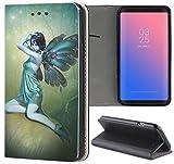 Samsung Galaxy S5 / S5 Neo Hülle Premium Smart Einseitig Flipcover Hülle Samsung S5 Neo Flip Case Handyhülle Samsung S5 Motiv (1403 Elfe Fee Flügel Türkis Manga)