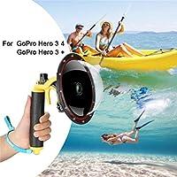 FEIMUOSI Für GoPro Dome Port Hero 4 Hero 3 3+, Unterwassergehäuse mit Triggerpistole und Floating Grip Fotografie Gegenlichtblende Wasserdichtes Gehäuse für GoPro Zubehör