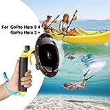 FEIMUOSI Für GoPro Dome Port Hero 4 Hero 3 3+, Unterwassergehäuse mit Triggerpistole und Floating Grip Fotografie Gegenlichtblende Wasserdichtes Gehäuse für GoPro Zubehör (for GoPro Hero 4/3/3+)