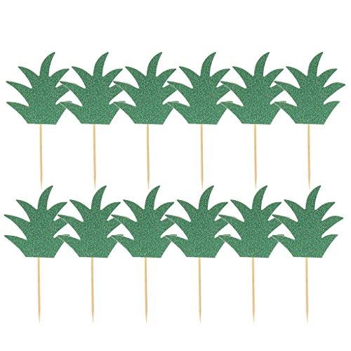 s Kuchen Picks Cupcake Topper Cocktail Dekoration Obst Picker für Hawaii Themen Party - Grün ()