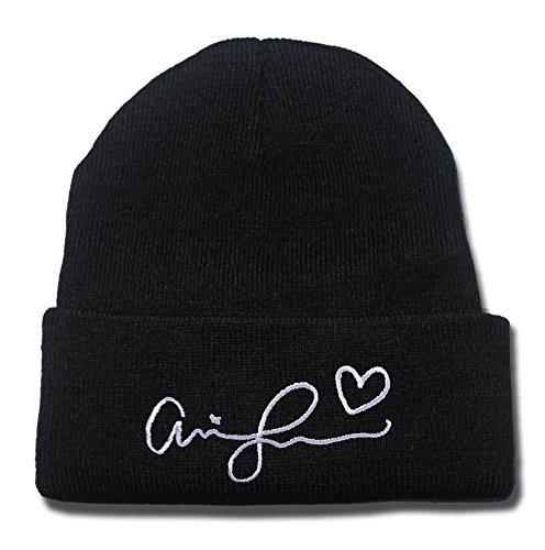 dongf Ariana Grande Signature Logo regolabile cappello berretto cappello a maglia/Cappelli di Snapback/berretti da baseball/visiera Black Beanie Taglia Unica