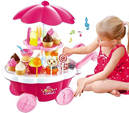 Extrawish Electronic Kids Pretend Toy Pink Ice Cream & Sweets Cart with Music Kitchen Role Play Toys