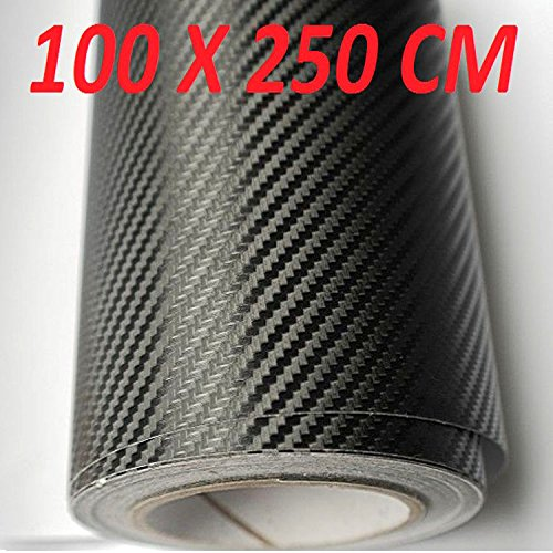 Pellicola in carbonio 100 x 250 cm adesivo 3d nero rotolo striscia carbonio