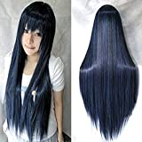 Womens/Ladies 80cm Black Blue Color Long Straight Cosplay/Costume/Anime/Party/Bangs Full Sexy Wig(80cm,Straight,Black Blue)