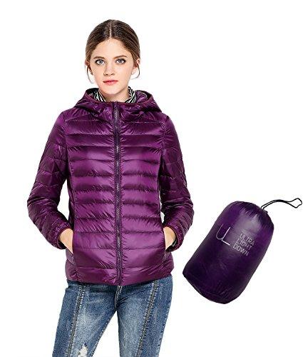 Oriental pearl - giacca a vento da donna, con imbottitura ultra leggera in piumino, con cappuccio purple xxx-large
