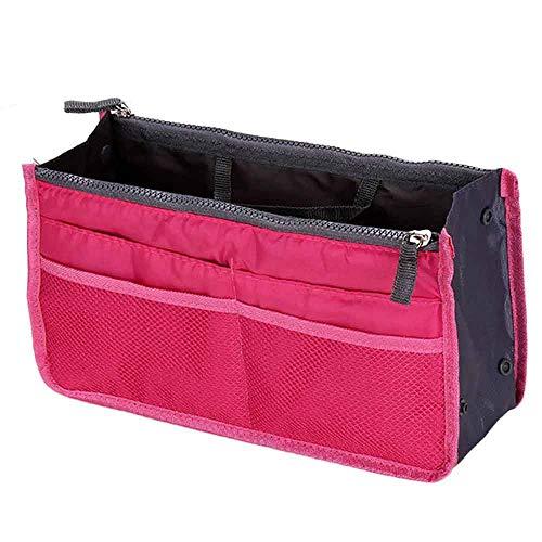 YAYAKI Aufbewahrungsboxen Multifunktionale Aufbewahrungstasche Handtasche Geldbörse Einsatz MP3 Handy Kosmetik Aufbewahrungstasche, Nylon, hot pink, 30 X 18.5 X 8.5