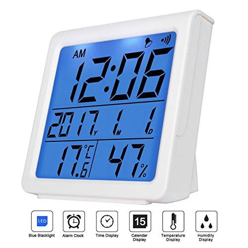 niceEshop Thermo Hygrometer, (TM) Multifunktions-Thermometer Hygrometer Monitor mit Blauem Backlight LCD-Display, ℃/℉ Switch, Min/Max Records für Büro, Baby Zimmer, Schlafzimmer (Weiß)
