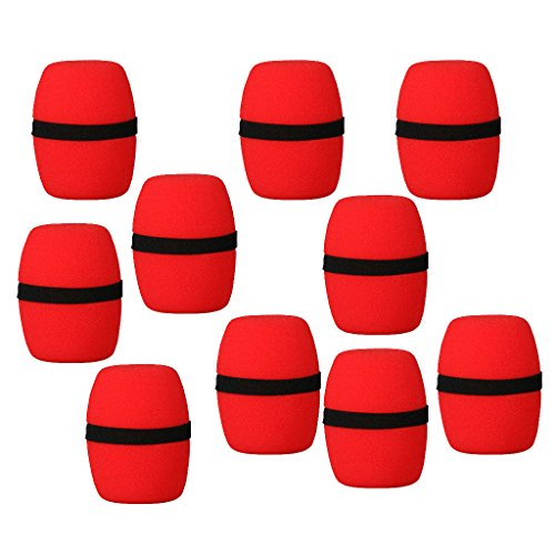 Magideal Imported 10 Pcs Handheld Stage Microphone Windscreen Foam Mic Cover Karaoke Red