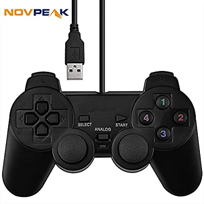 NOVEPAK USB Dual Shock Joystick Gamepad Wired Gaming Controller [Double Vibration Feedback Motors] for PC Computer Laptop Window (Black)
