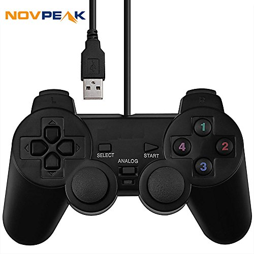 NOVPEAK Dual Shock USB-Joystick Gamepad Gaming Controller [Double Vibration Feedback Motoren] für PC Computer Laptop Fenster (schwarz) - Treiber-fenster Motor