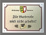 Metallschild Garderobe keine Haftung - Schild Schleswig- Holstein (18 x 14 cm)