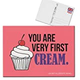 Forbetter your English Postkarte Karte You are very first cream rosa weiß schwarz