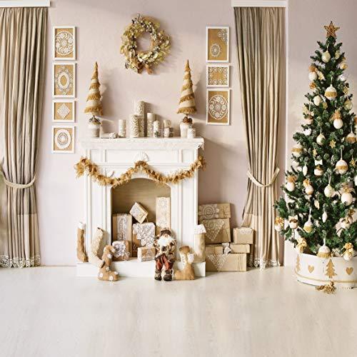 AIIKES 10x10FT/3Mx3M Weihnachtsbaum Kamin Innen Fotografie Hintergründe Vinyl Studio Hintergrund Für Foto Neujahr Dekoration Requisiten...