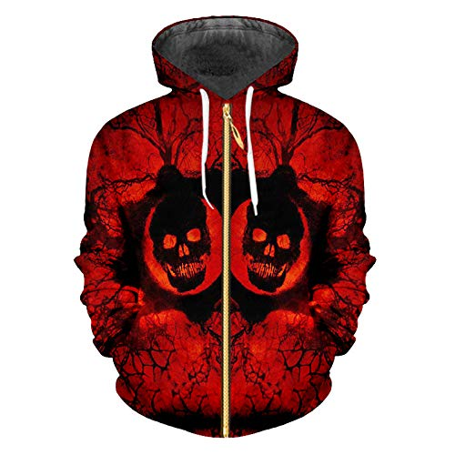 Ai Ya-weiyi Zip Hoodies Mann Sweatshirt Mode Slim Hoody 3D Print Red Horror Skull and Big Size Kostüm Männlichen Reißverschluss Mantel (Red Wolf Kostüme)