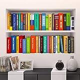 TIVOPA Adesivi Murali per Ufficio Finti Libreria Decorata PVC 3D Studio Rimovibile Sala Studio Sfondo Adesivo da Parete Arte Libri Vari