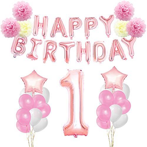 KUNGYO Nobel 1. Roségold Geburtstagsfeier Dekorationen - Happy Birthday Brief Ballons, Nummer und Star Heliumballons, Dekorative Bänder, Papierblume, Gummiballons (44 Stücke)